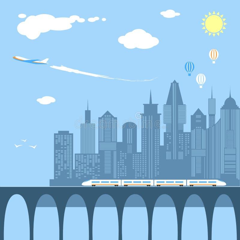 Trein het doornemen de stad Spoorweg en brug royalty-vrije illustratie