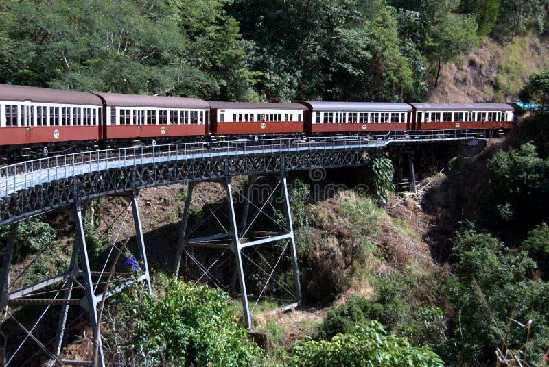 Trein op spoorwegbrug royalty-vrije stock afbeelding