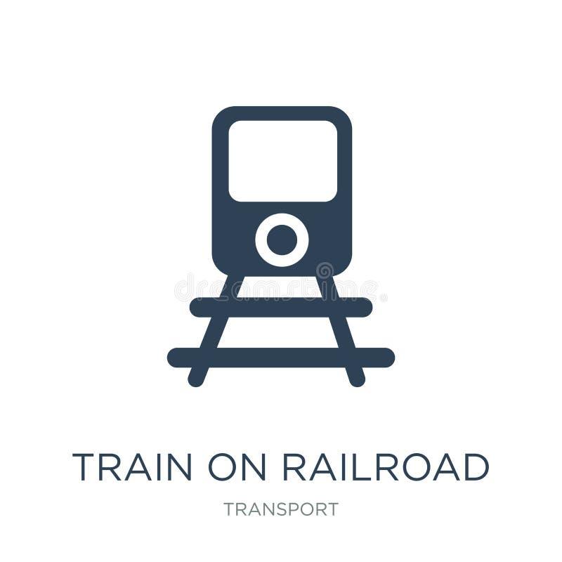 trein op spoorwegpictogram in in ontwerpstijl Trein op spoorwegpictogram op witte achtergrond wordt geïsoleerd die trein op spoor stock illustratie