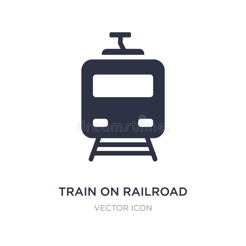 trein op spoorwegpictogram op witte achtergrond Eenvoudige elementenillustratie van Vervoerconcept royalty-vrije illustratie