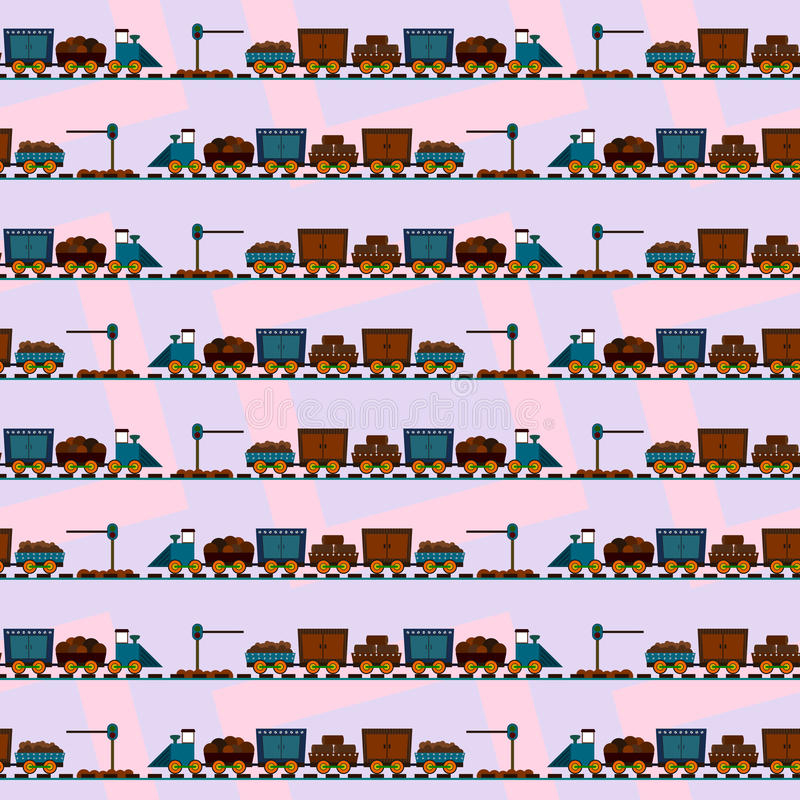 Trein op sporen naadloos ontwerp als achtergrond vector illustratie