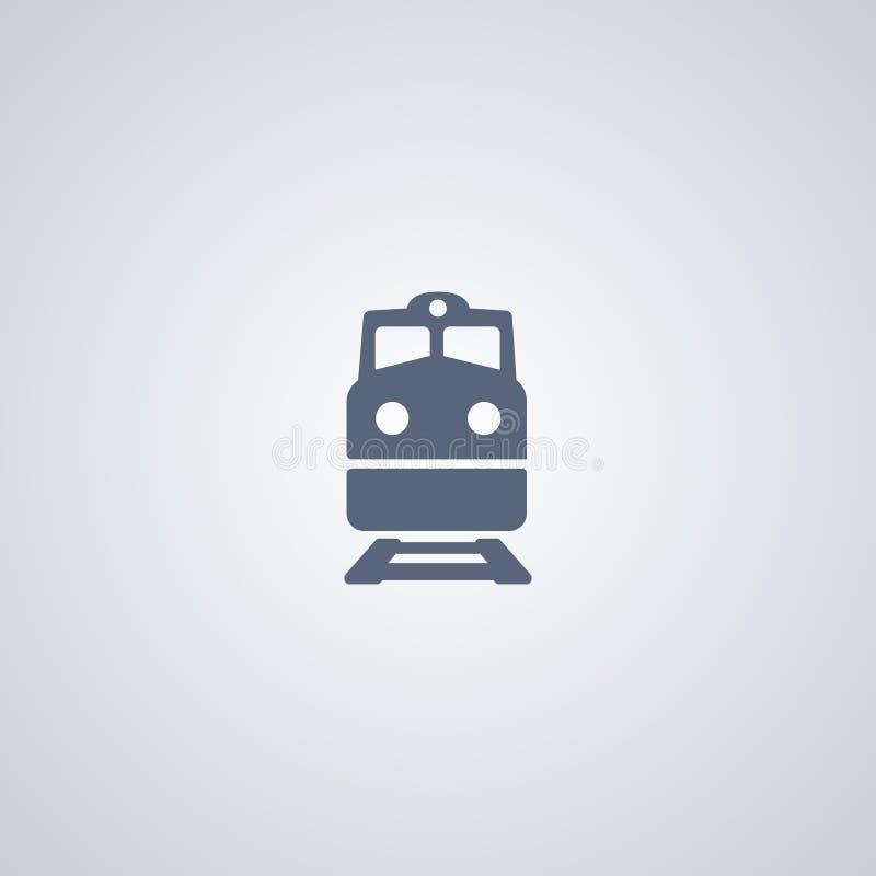 Trein, spoorweg, vector beste vlak pictogram stock illustratie