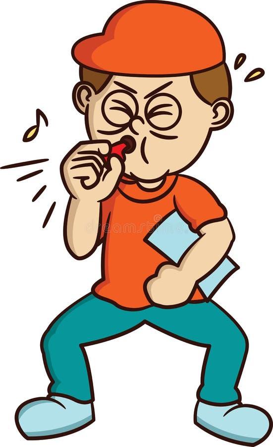 Treinador Blowing Whistle Cartoon ilustração do vetor
