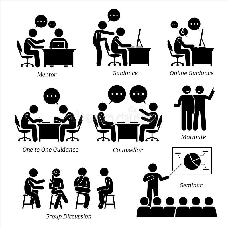 Treinador da orientação do mentor para o executivo empresarial ilustração royalty free