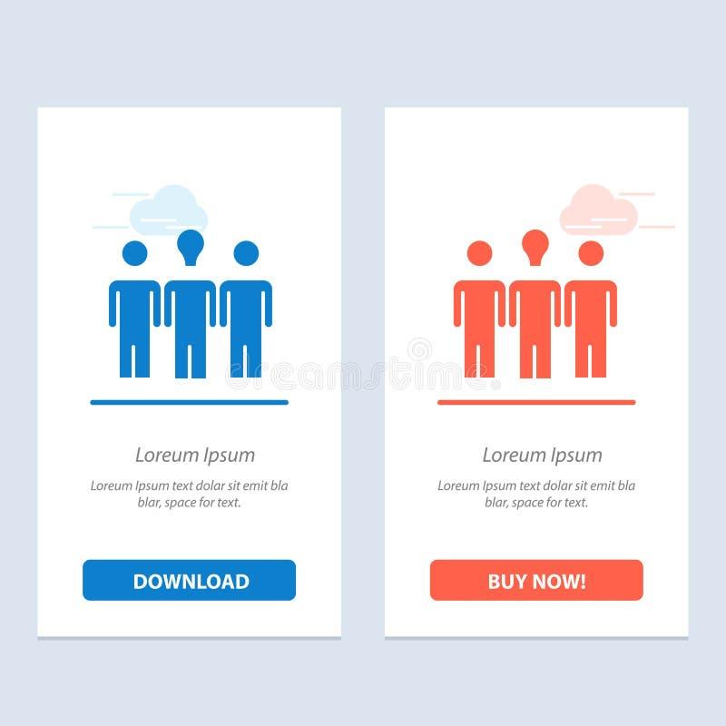 Treinador, Daybed, aprendizagem, azul da motivação e transferência vermelha e para comprar agora o molde do cartão do Widget da W ilustração stock