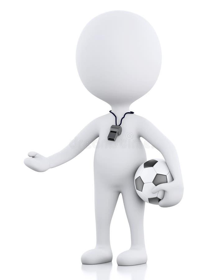 treinador do futebol dos povos 3d brancos Fundo branco isolado ilustração stock