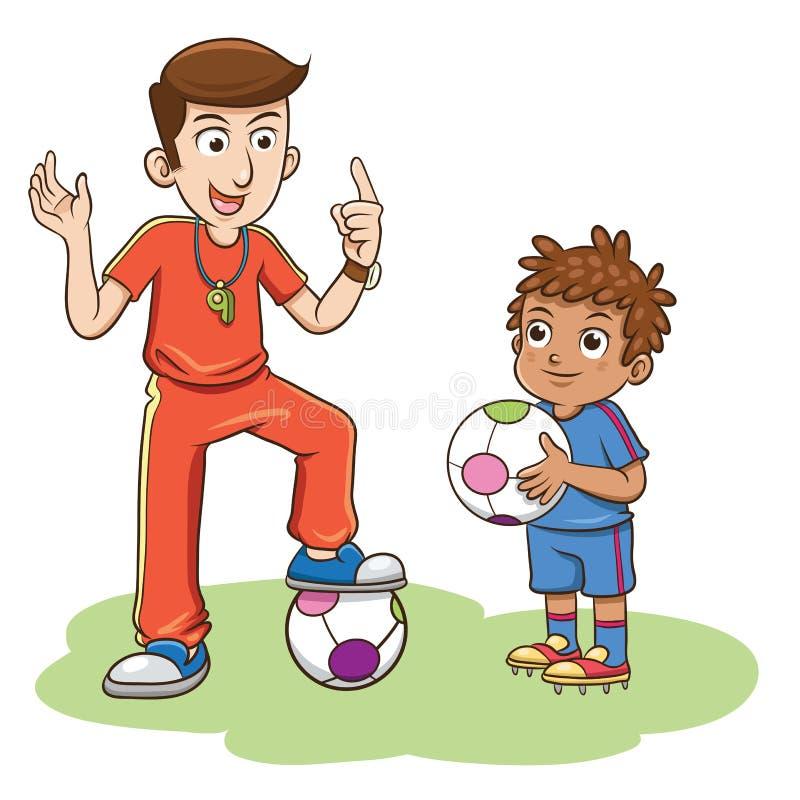 Treinador do futebol e os jogadores das crianças ilustração stock