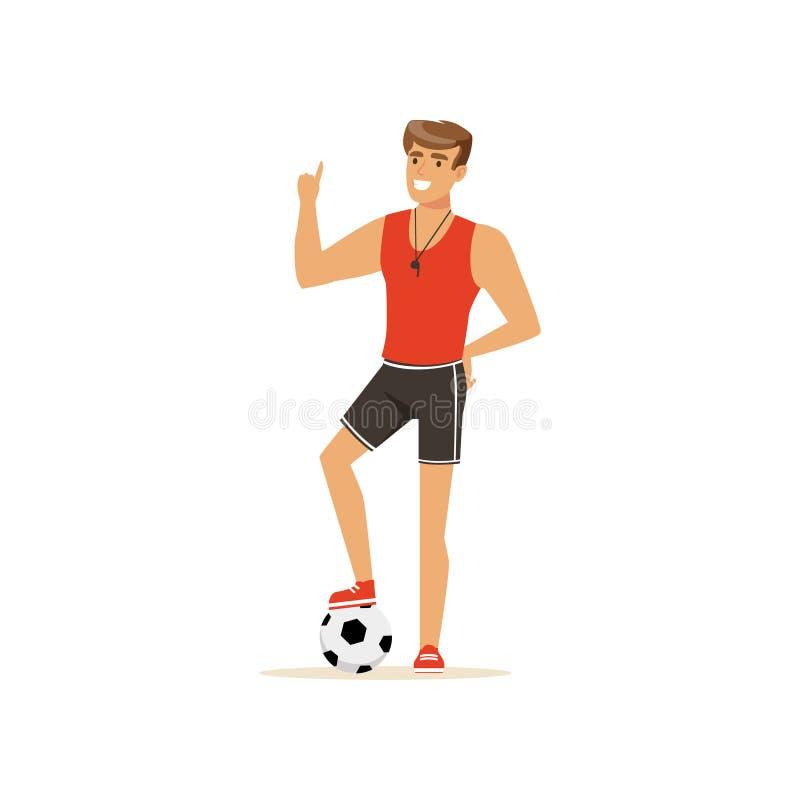 Treinador ou instrutor profissional da aptidão com ilustração do vetor da bola de futebol ilustração do vetor