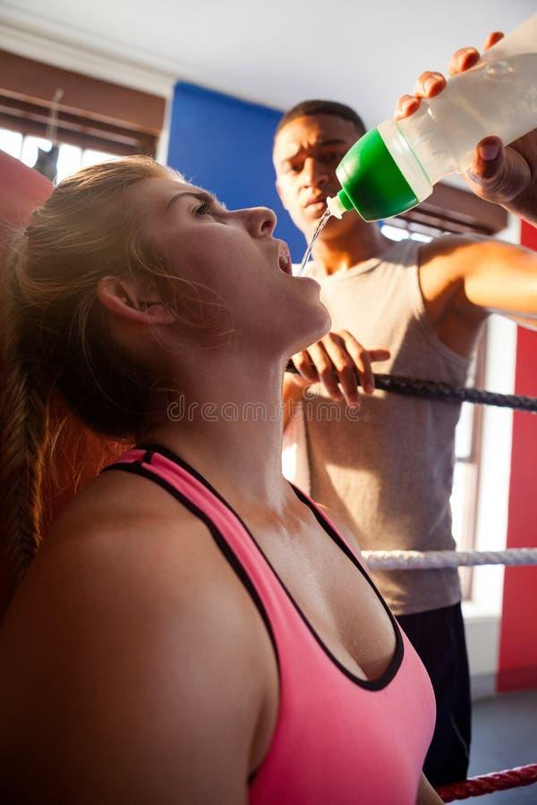 Treinador que dá a água ao estagiário fotos de stock
