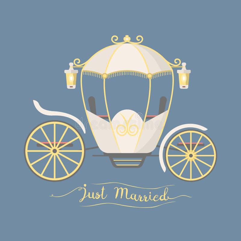 Treinador retro do casamento do elemento real da decoração do transporte do vintage do conto de fadas com vetor acessório elegant ilustração do vetor