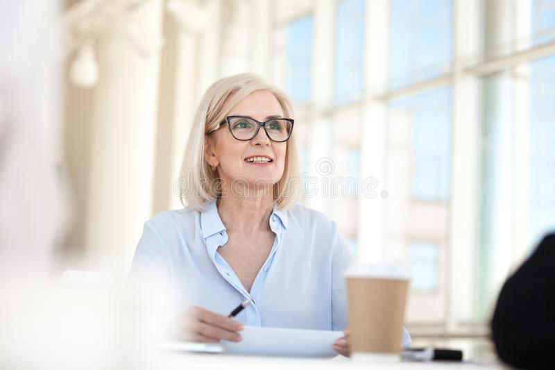 Treinador seguro do líder da mulher de negócio maduro que fala no encontro imagem de stock