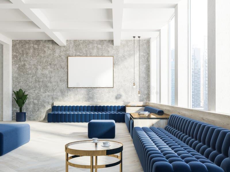 Treinadores azuis interiores da sala de visitas concreta, cartaz ilustração stock