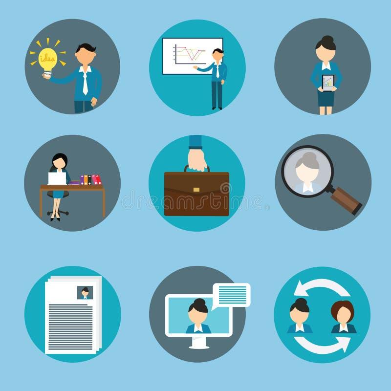 Treinamento ajustado do ícone do negócio da gestão de recursos humanos ilustração do vetor