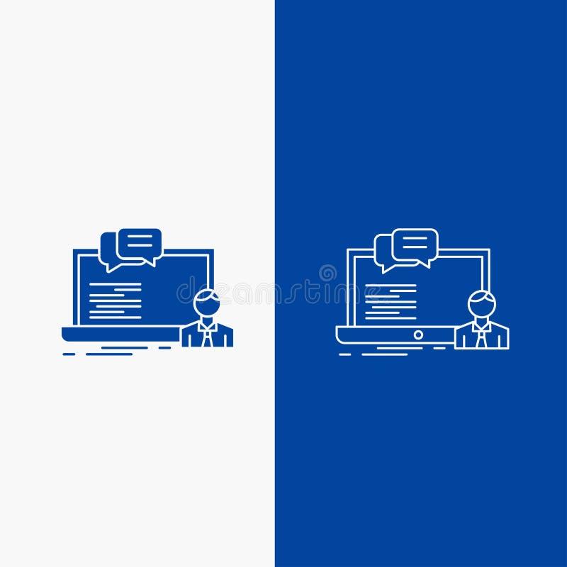 Treinamento, curso, em linha, computador, botão da Web da linha do bate-papo e do Glyph na bandeira vertical da cor azul para UI  ilustração do vetor
