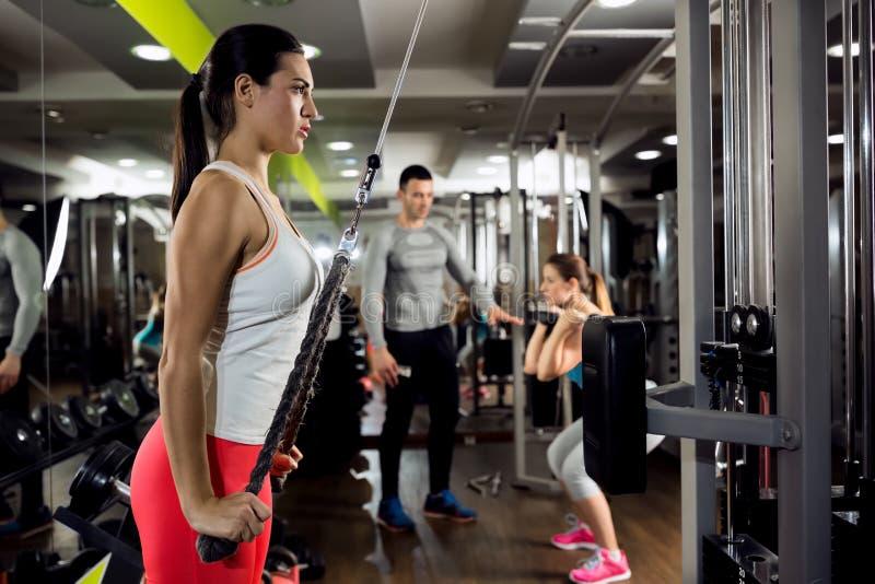 Treinamento da força do exercício da mulher da aptidão fotos de stock