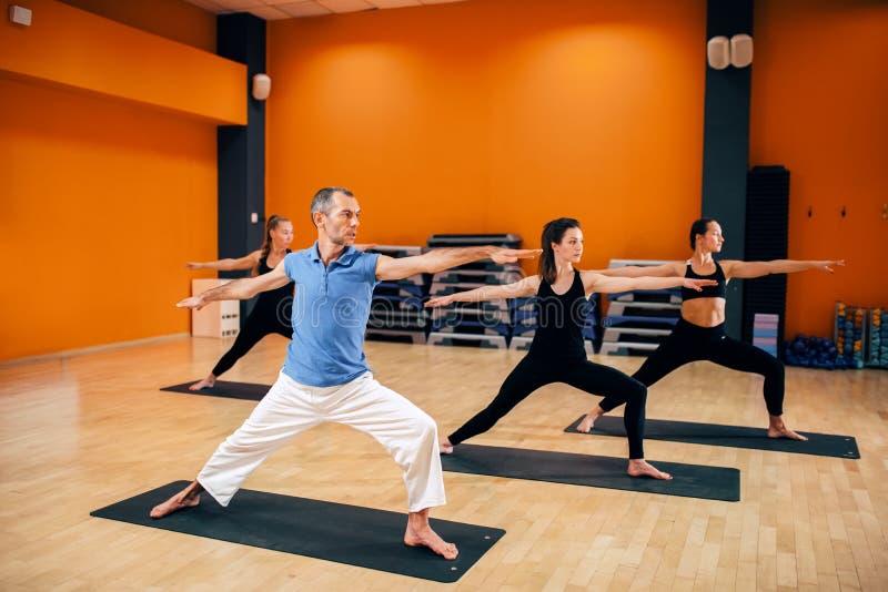 Treinamento da ioga, grupo fêmea com o instrutor na ação fotografia de stock royalty free