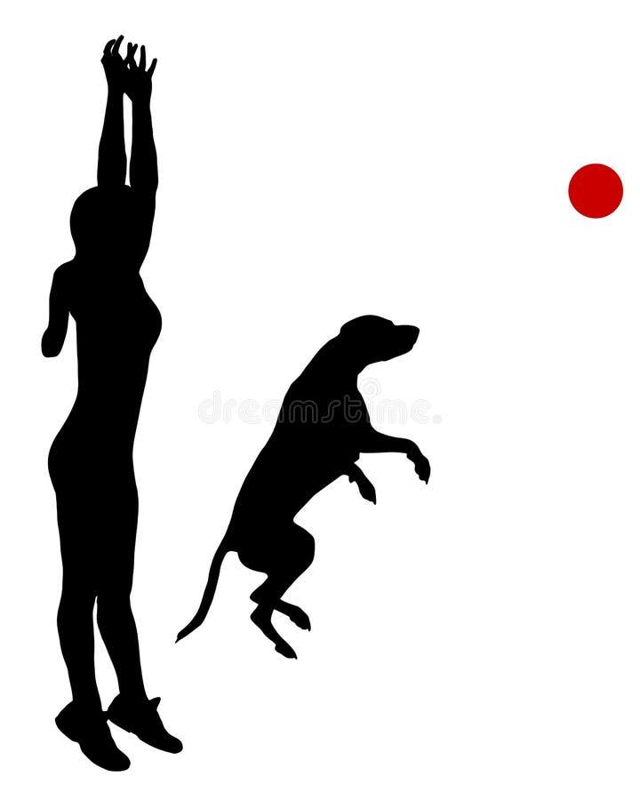 Treinamento do cão com esfera ilustração do vetor