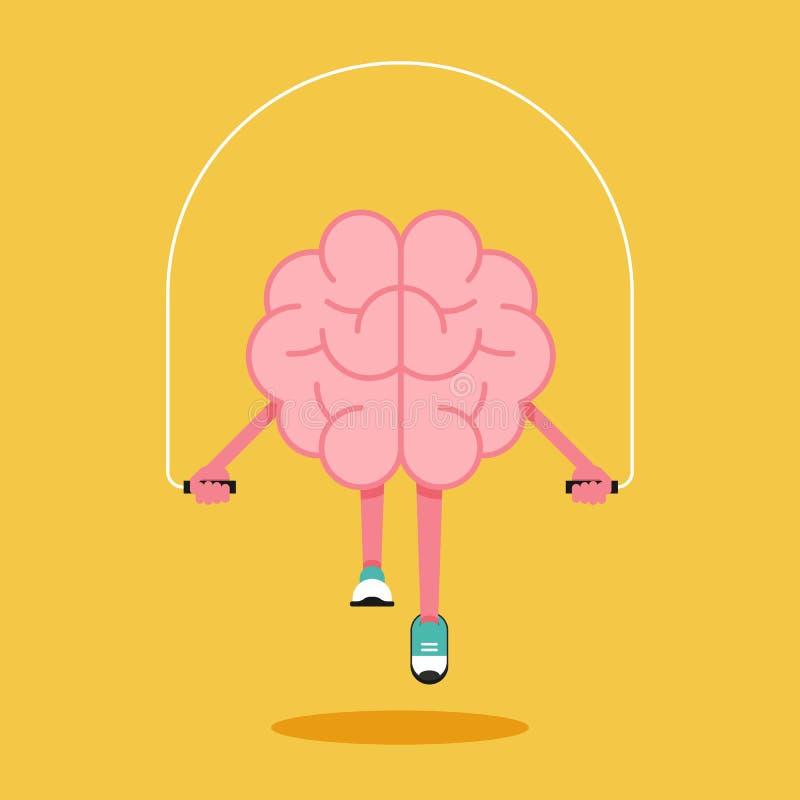 Treinamento do cérebro com a corda que salta o projeto liso Conceito creativo da id?ia ilustração do vetor