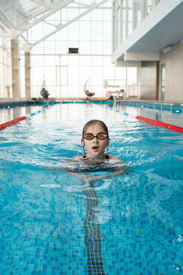 Treinamento do nadador pequeno imagens de stock royalty free