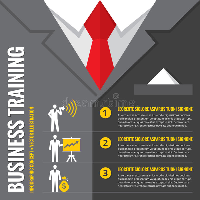 Treinamento do negócio - ilustração infographic do vetor Homem de negócio - conceito infographic do vetor O escritório sere o con ilustração stock