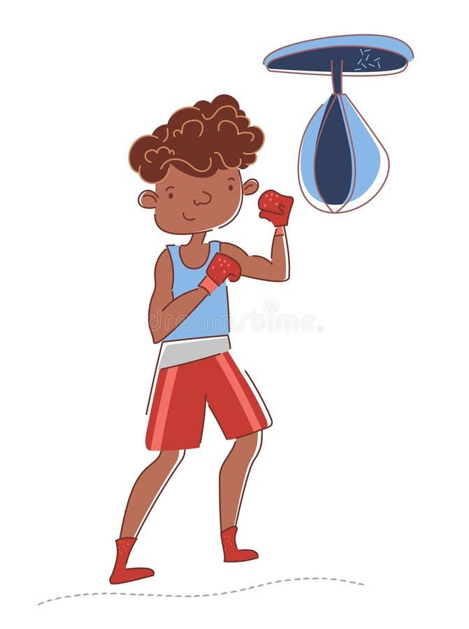 Treinamento do pugilista no gym O desportista afro-americano novo está retrocedendo o saco de perfuração Luvas de encaixotamento  ilustração do vetor