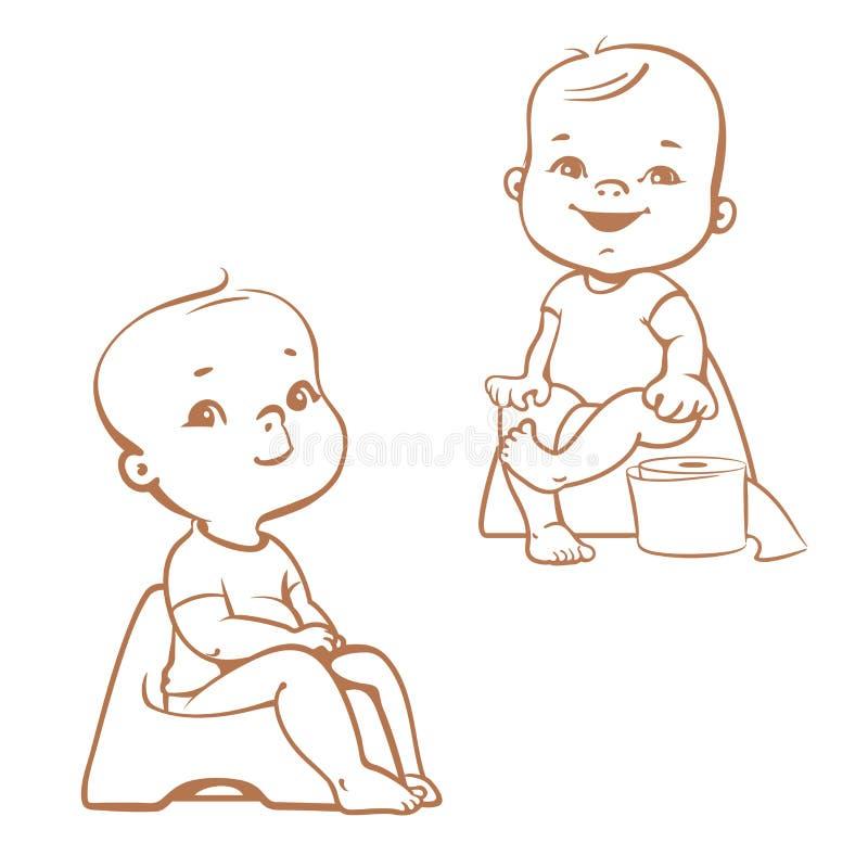 Treinamento do urinol Bebês no urinol esboço ilustração stock