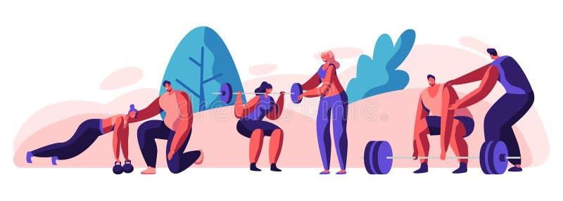 Treinamento dos povos no Gym com treinador Help O homem e os caráteres fêmeas nos esportes vestem o exercício com peso e pesos Tr ilustração stock