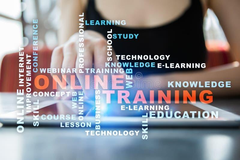 Treinamento em linha na tela virtual Conceito da instrução Nuvem das palavras fotos de stock