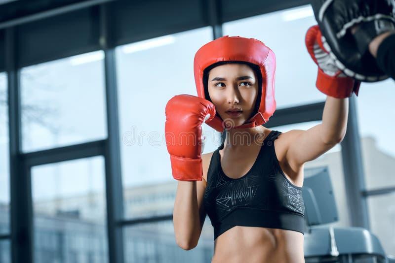 treinamento fêmea novo equipado do pugilista imagens de stock