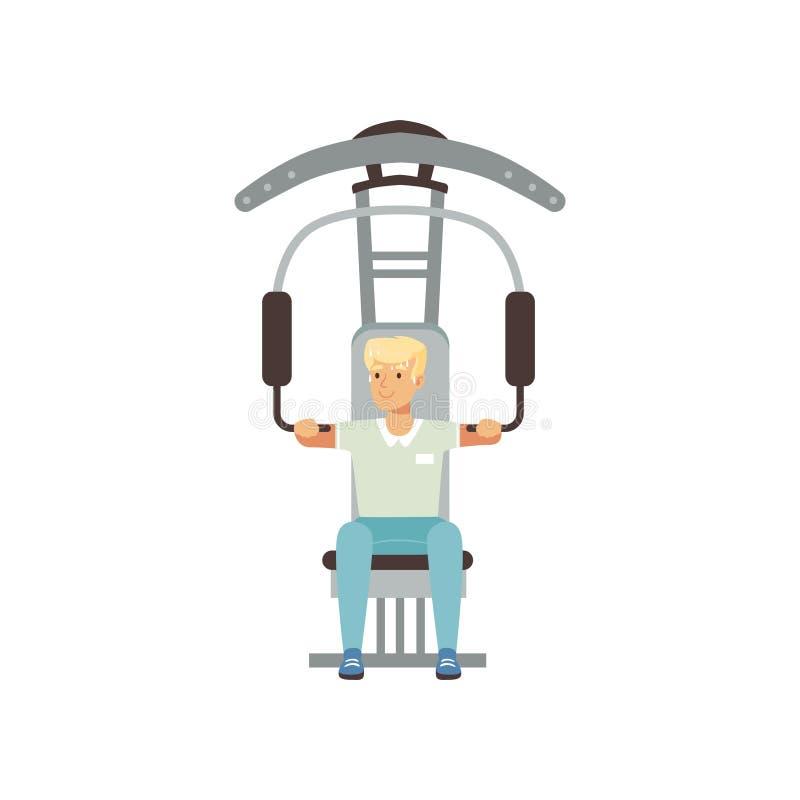 Treinamento físico do astronauta Homem novo que prepara-se para o voo espacial Equipamento do Gym Conceito do exercício Homem dos ilustração do vetor