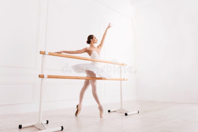 Treinamento gracioso da menina na classe do bailado fotos de stock royalty free