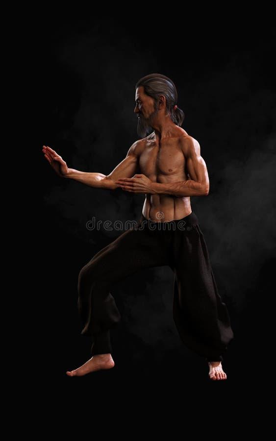 Treinamento humano dos esportes das artes marciais com trajeto de grampeamento ilustração stock