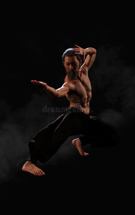Treinamento humano dos esportes das artes marciais com trajeto de grampeamento ilustração do vetor