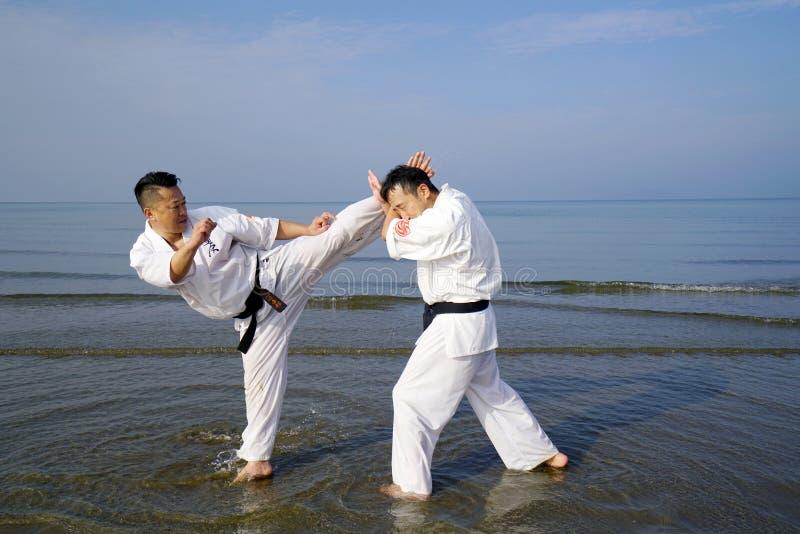 Treinamento japonês da pessoa da arte marcial do karaté imagens de stock