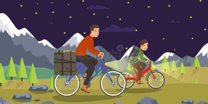 Treinamento liso da noite do vetor em Biking de montanha ilustração stock