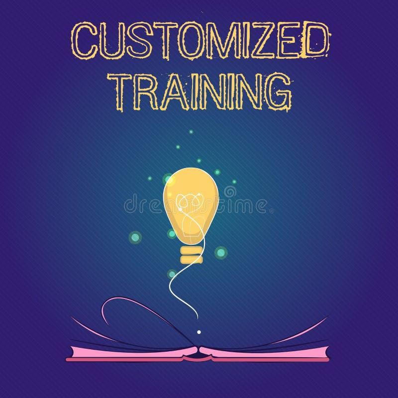 Treinamento personalizado texto da escrita O significado do conceito projetou cumprir exigências especiais dos empregadores ilustração stock