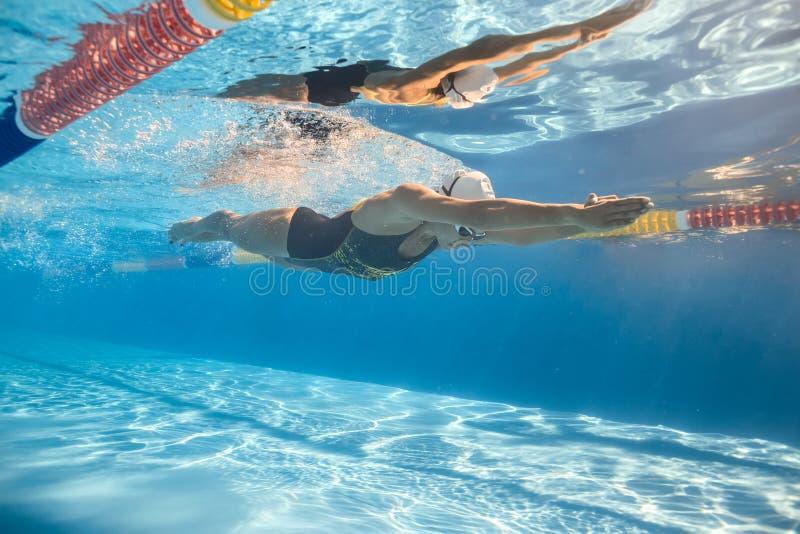 Treinamento subaquático na associação imagem de stock