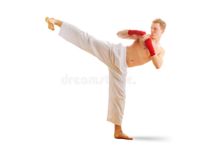 Treinamento taekwondo do homem imagens de stock