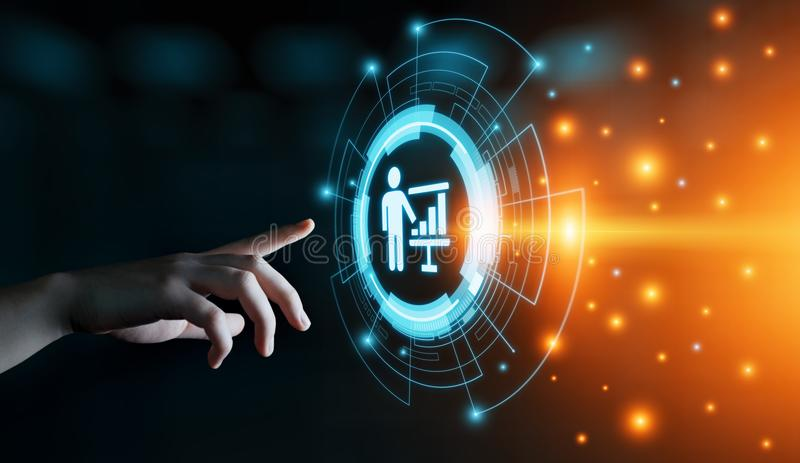 Treinando o conceito do ensino eletrónico do desenvolvimento do treinamento do negócio de educação da tutoria foto de stock royalty free