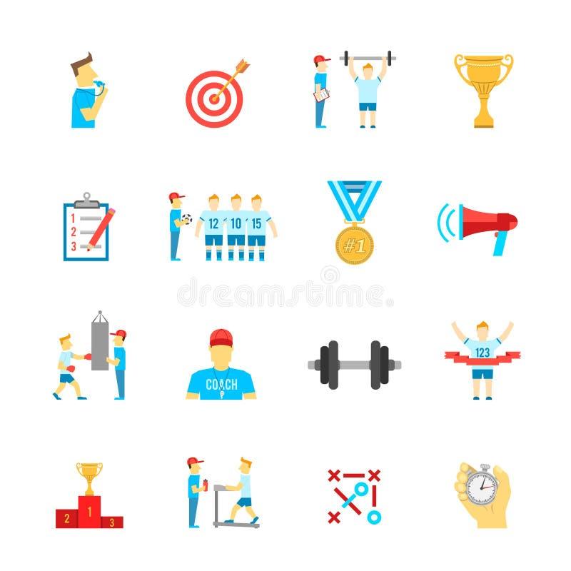 Treinando os ícones do esporte ajustados ilustração do vetor