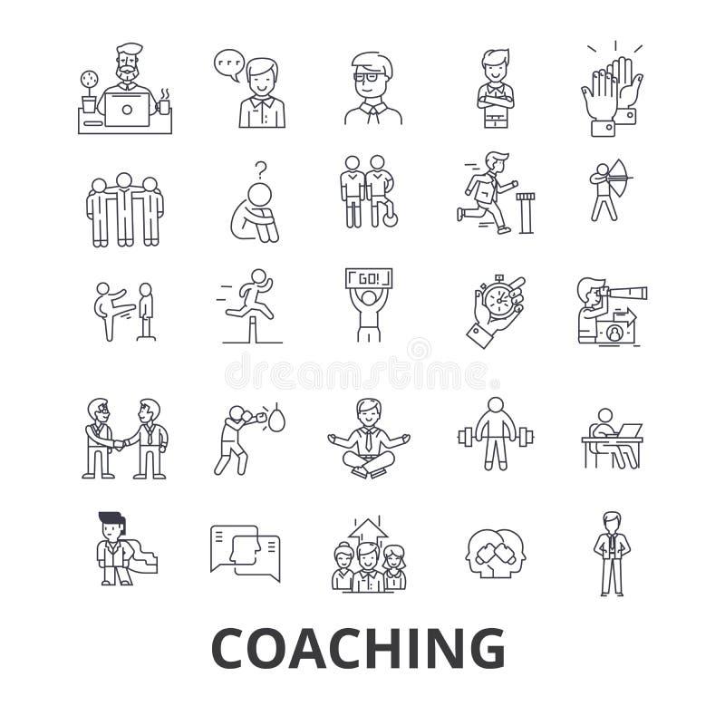 Treinando, treinador de esporte, mentor, ônibus do treinador, treinador da vida, treinamento, instrutor, linha ícones do assobio  ilustração do vetor