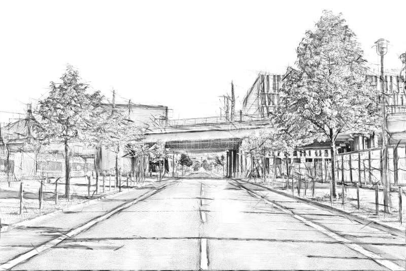Treinbrug over een lege straat in Berlijn van de binnenstad - de tekening van de Potloodschets royalty-vrije illustratie