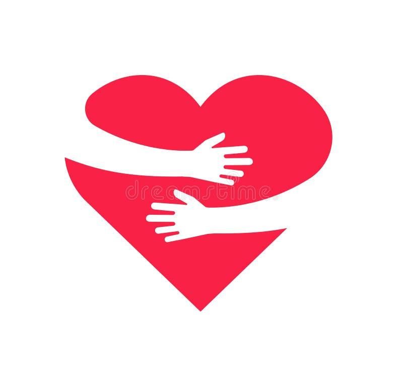 ?treindre le coeur Les mains tenant l'étreinte de bras de coeur s'aiment vecteur roman de relations de cadeau de cardiologie d'es illustration stock