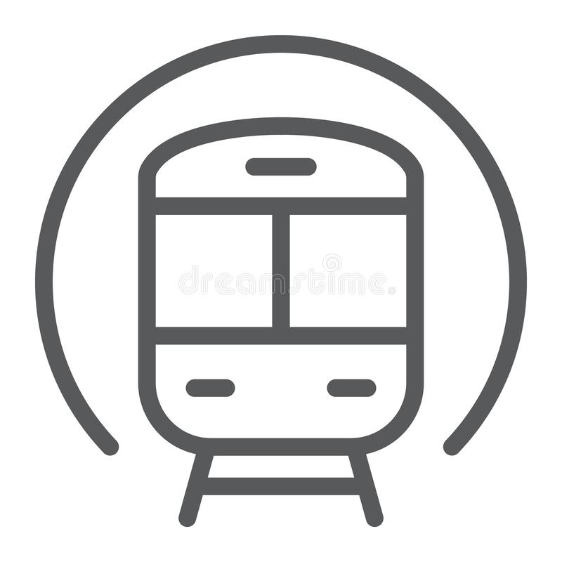 Treine a linha ícone, a estrada de ferro e o curso, sinal do metro, gráficos de vetor, um teste padrão linear em um fundo branco ilustração stock