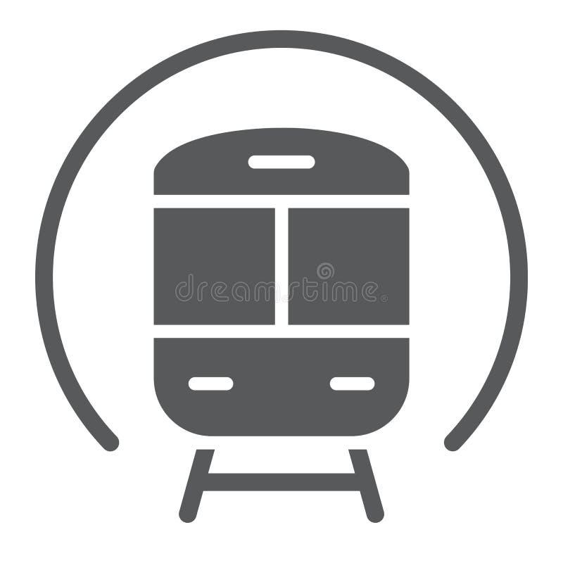 Treine o ícone do glyph, a estrada de ferro e o curso, sinal do metro, gráficos de vetor, um teste padrão contínuo em um fundo br ilustração stock