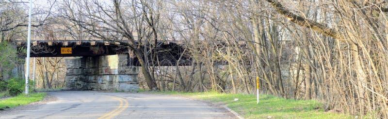 Treine a ponte sobre grafittis urbanos da estrada lateral, com fileira das árvores na mola adiantada em Indianapolis Indiana, Est fotos de stock