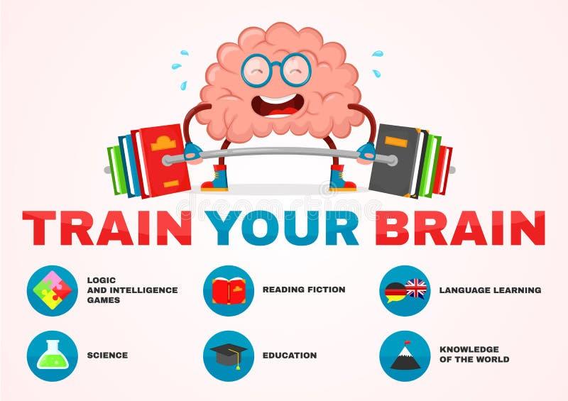 Treine seu cérebro infographic do caráter liso do divertimento da ilustração dos desenhos animados do vetor do cérebro projeto cr ilustração royalty free