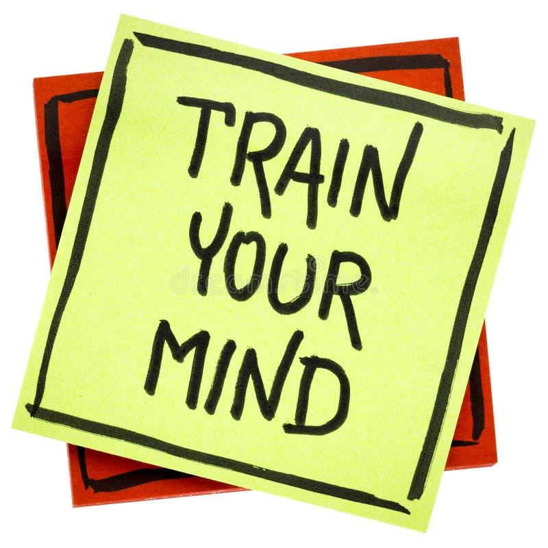 Treine seu conselho ou lembrete da mente imagens de stock