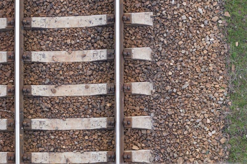 Treine a textura das trilhas, trilhos railway, vista superior, fundo imagem de stock royalty free