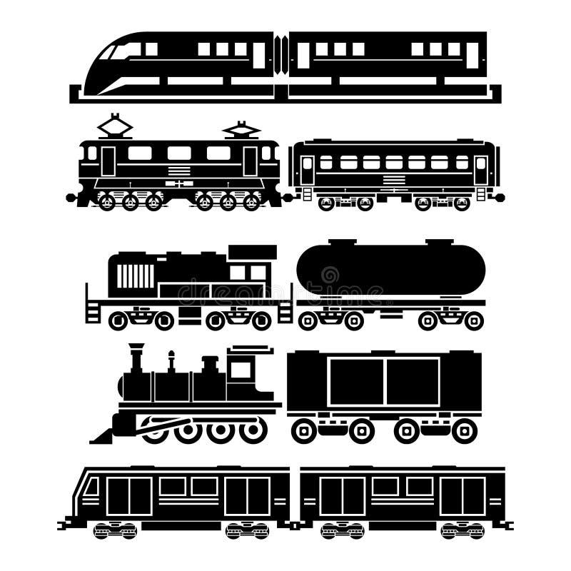Treine, trem de céu, ícones do vetor do metro ajustados ilustração do vetor